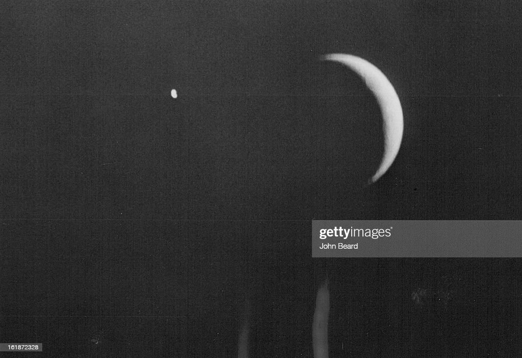 APR 17 1972, APR 18 1972; Moon Spot Identified; A bright light see above moon Sunday night brought a flurry of calls to The Denver Post by persons curious to know if the spot were the Apollo 16 space flight. J. McKim Melville, an astronomer in charge of the University of Colorado observatory, said the object was the planet Venus. He said the position of the planet so near the moon is unusual but wouldn't speculate on how frequently such a phenomenon occurs. It would be impossible to see reflections of the spacecraft without using a high-power telescope, Melville told the Post.;