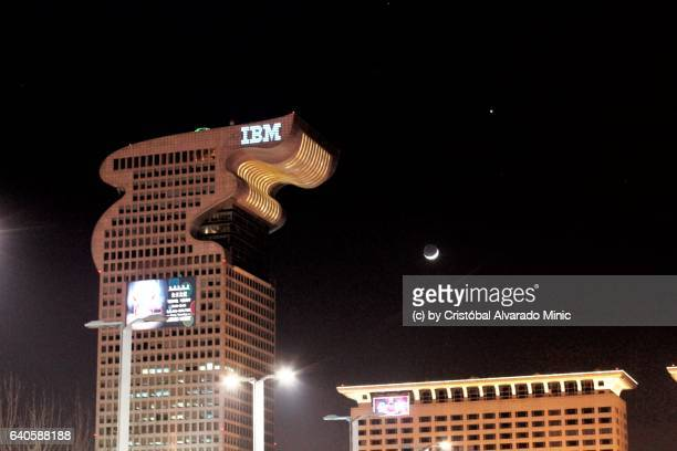 Moon, Venus, Mars And IBM Dragon Building, Beijing.