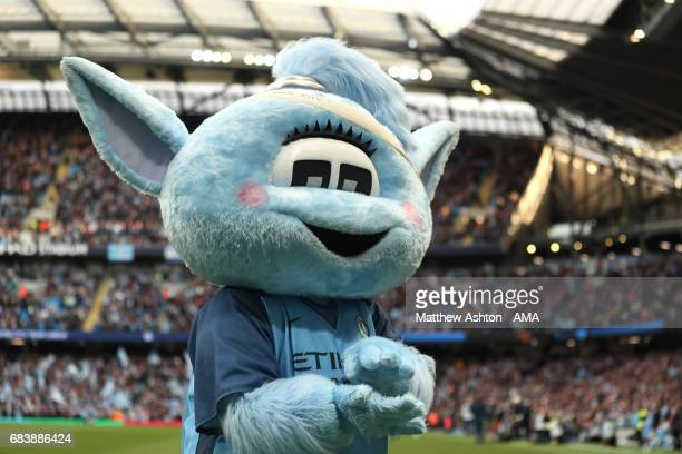 Moonbeam the Manchester City mascot wears a headband / bandage as a tribute to Pablo Zabaleta during the Premier League match between Manchester City...
