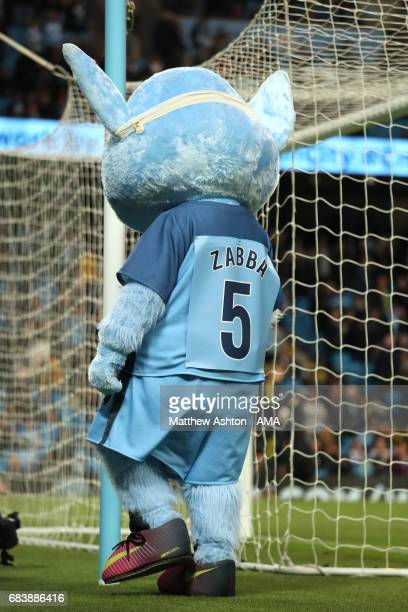 Moonchester the Manchester City mascot wears a headband / bandage as a tribute to Pablo Zabaleta during the Premier League match between Manchester...