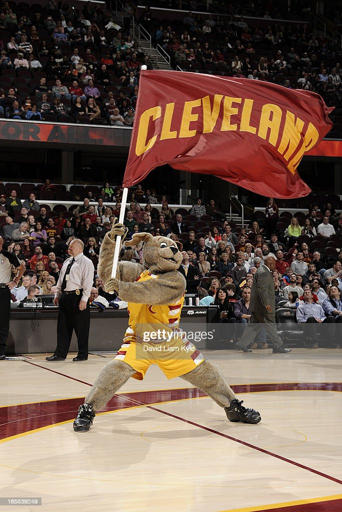 Moondog the mascot of the Cleveland Cavaliers gets the crowd into the game against the Philadelphia 76ers at The Quicken Loans Arena on March 29, 2013 in Cleveland, Ohio.