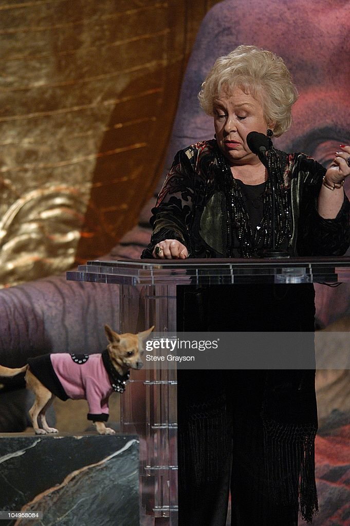 'Moondoggie' and <a gi-track='captionPersonalityLinkClicked' href=/galleries/search?phrase=Doris+Roberts&family=editorial&specificpeople=209247 ng-click='$event.stopPropagation()'>Doris Roberts</a>. during The 17th Annual Genesis Awards - Show at The Beverly Hilton Hotel in Beverly Hills, California, United States.