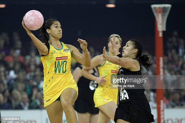 Mo'onia Gerrard of Australia passes the ball during the second Test Match between the Australian Diamonds and the New Zealand White Ferns at Adelaide...