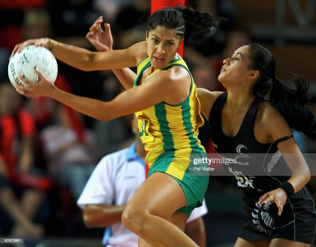 Mo'onia Gerrard of the Diamonds and Maria Tutaia of the Silver Ferns compete for the ball during game two of the New World Series match between the...