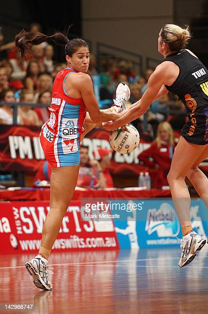 Mo'onia Gerrard of the Swifts and Jessica Tuki of the Magic compete for the ball during the round three ANZ Championship match between the Swifts and...