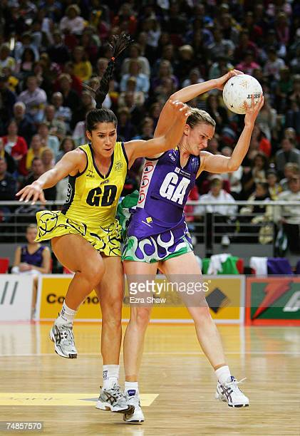 Mo'onia Gerrard of the Swifts and Sharelle McMahon of the Phoenix go for the ball during the week nine Commonwealth Bank Trophy match between the...