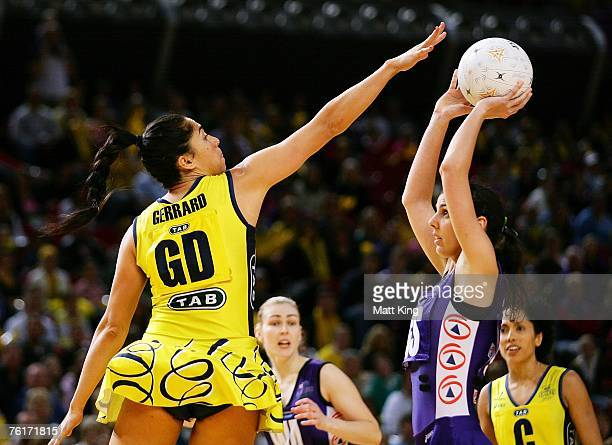 Mo'onia Gerrard of the Swifts defends as Abby Sargent of the Phoenix shoots for goal during the Commonwealth Bank Trophy Final match between the...