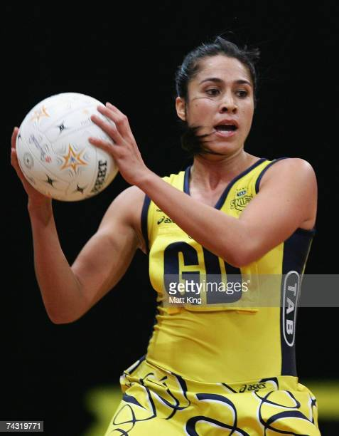 Mo'onia Gerrard of the Swifts looks to pass during the week five Commonwealth Bank Trophy match between the Sydney Swifts and the Queensland...