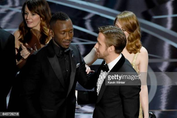 'Moonlight' actor Mahershala Ali with Ryan Gosling and Emma Stone after it was discovered 'La La Land' was mistakenly announced as Best Picture...