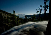 Moonlight and stars over Eagle Falls, Emerald Bay, Lake Tahoe, California