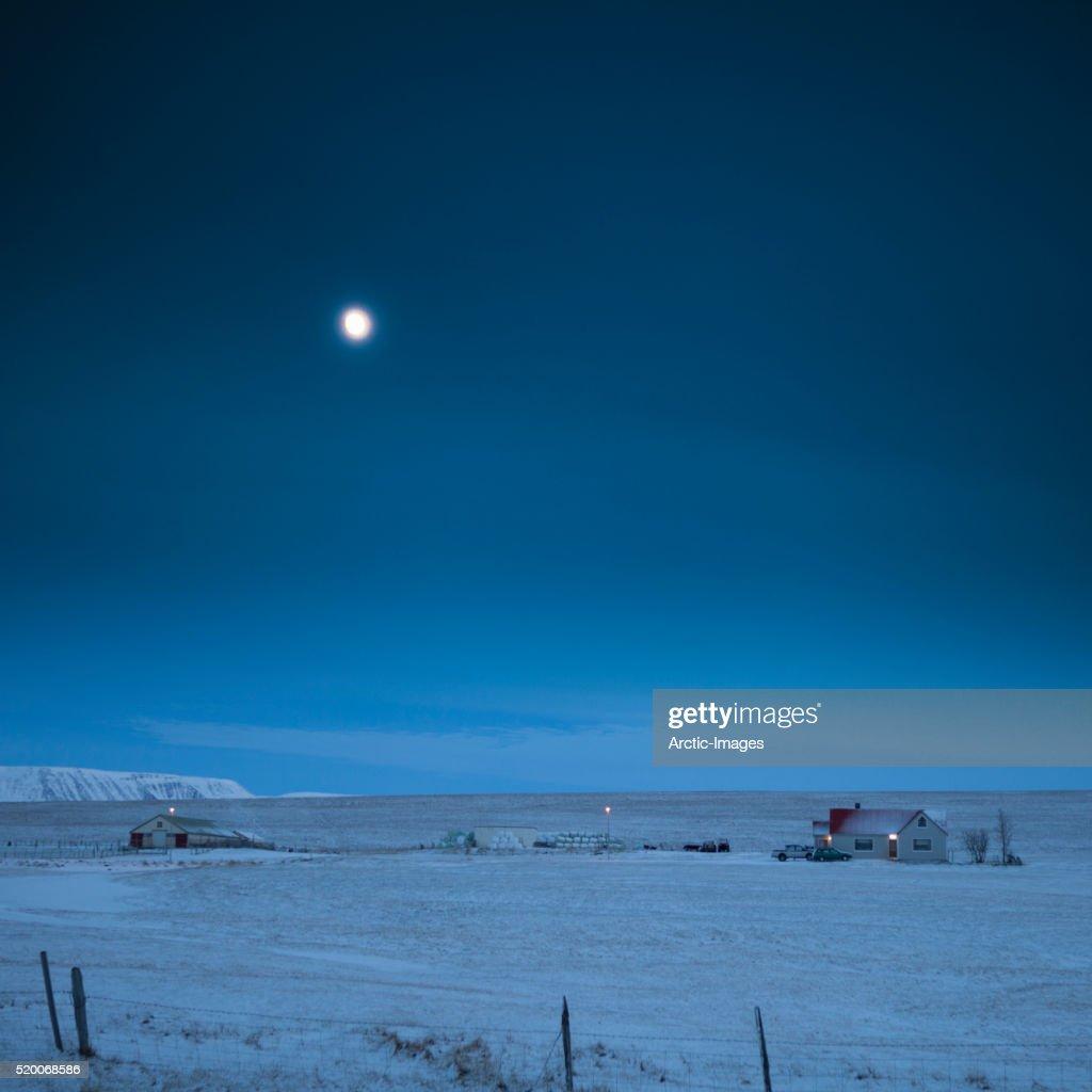 Moonlight over country farm, Skagafjordur, Northern Iceland