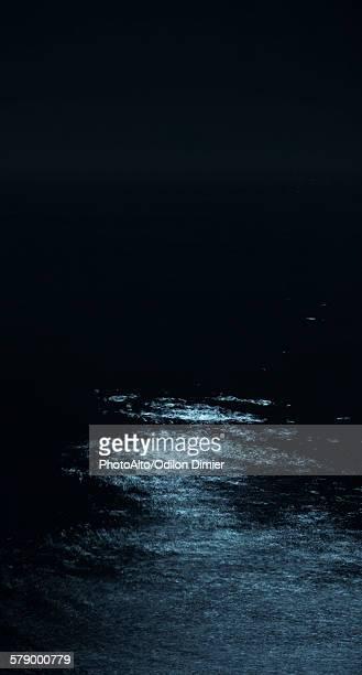 Moonlight reflected on ocean at night
