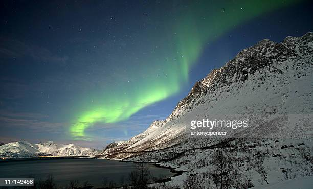 Moonlit mountains and Aurora Borealis.