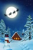 Moonlit snowy Christmas landscape