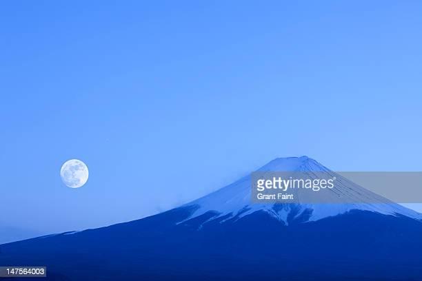 Moonrise near Mount Fuji.