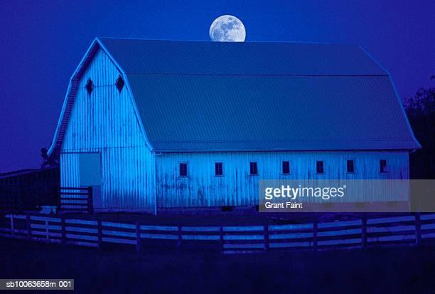 Moonrise over barn (Digital Composite)