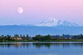 Moonrise over Mt. Baker at Wiser Lake, Washington