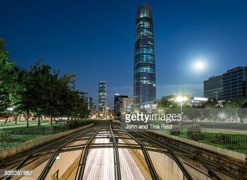 Moonrise over the Gran Torre Santiago