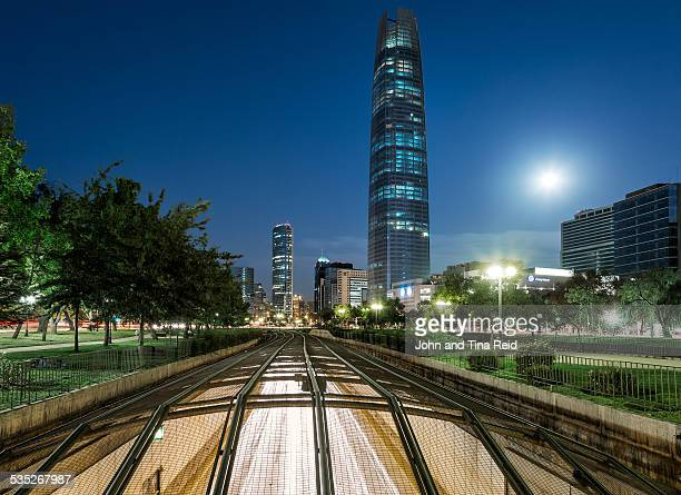 Moonrise over the Gran Torre Santiago