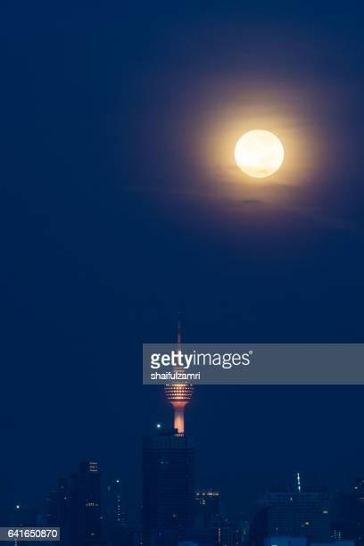 Moonshine over downtown Kuala Lumpur