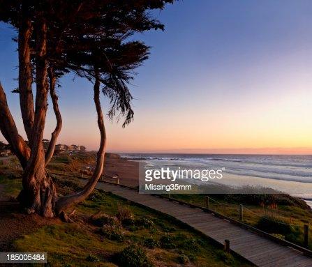 Moonstone Beach at Sunset Panorama