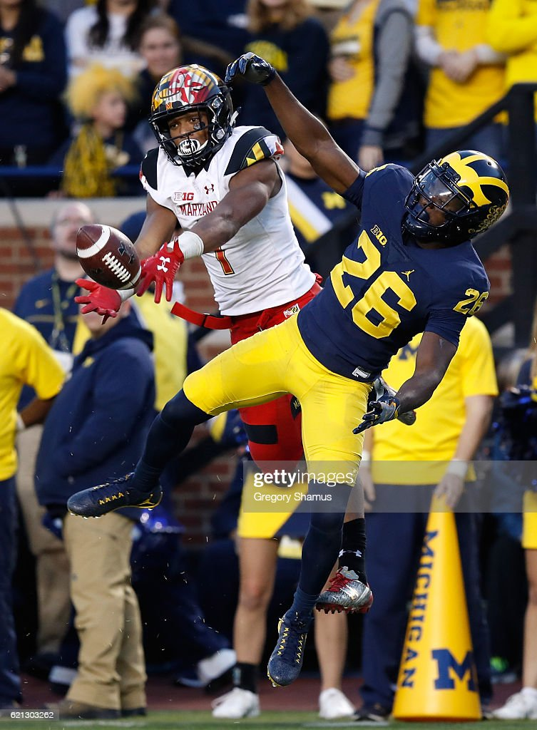 D.J. Moore #1 of the Maryland Terrapins can't pull in a second half pass behind Jourdan Lewis #26 of the Michigan Wolverines on November 5, 2016 at Michigan Stadium in Ann Arbor, Michigan. Michigan won the game 59-3.