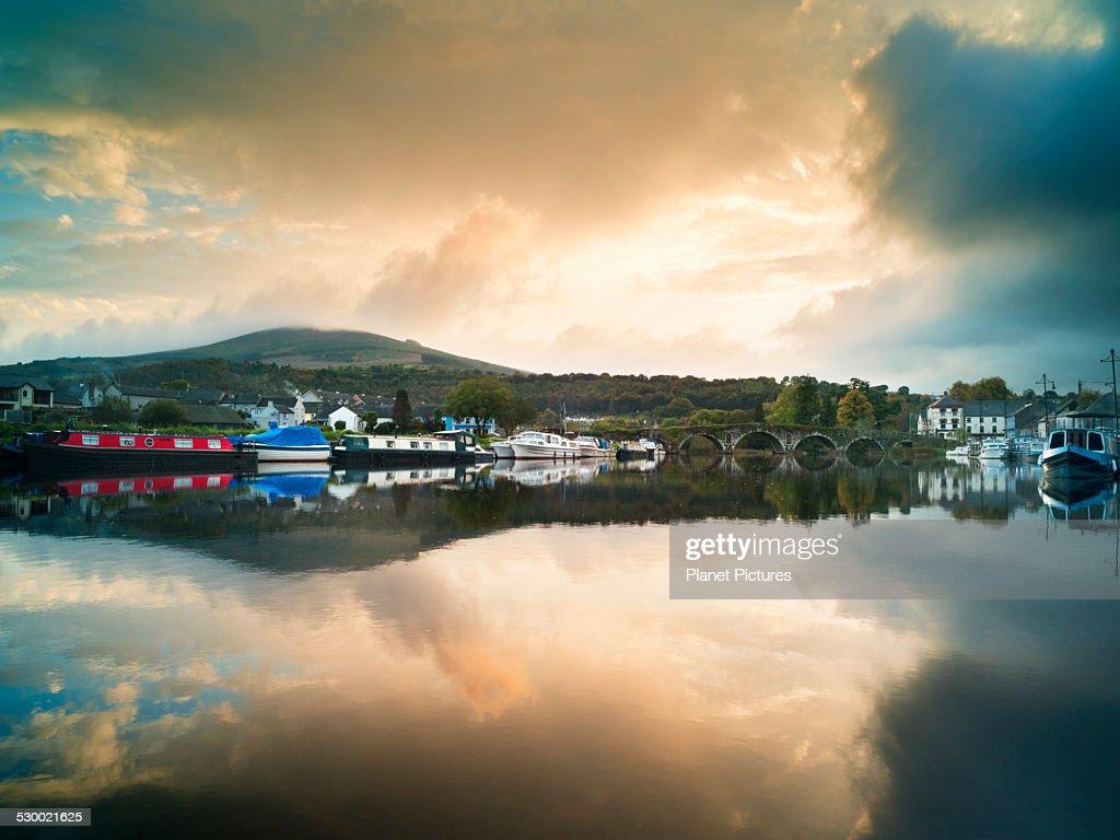 Moored barges at Graiguenamanagh on Barrow Navigation Canal, Ireland