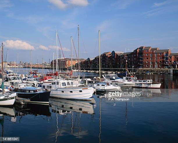 Moored boats at Preston Marina,Preston,Lancashire,England