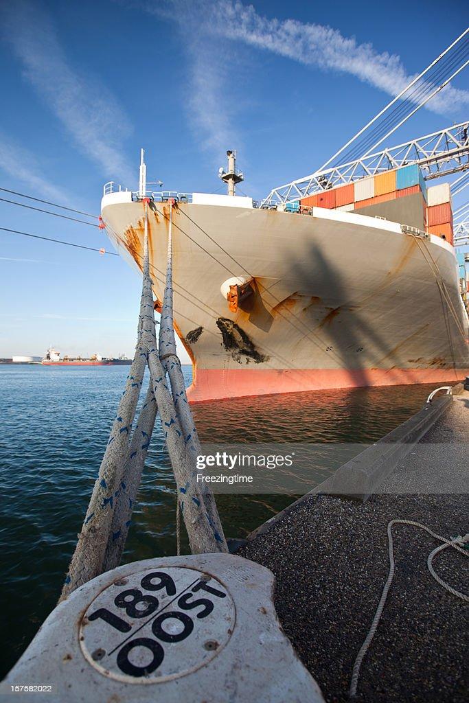 Moored cargo ship