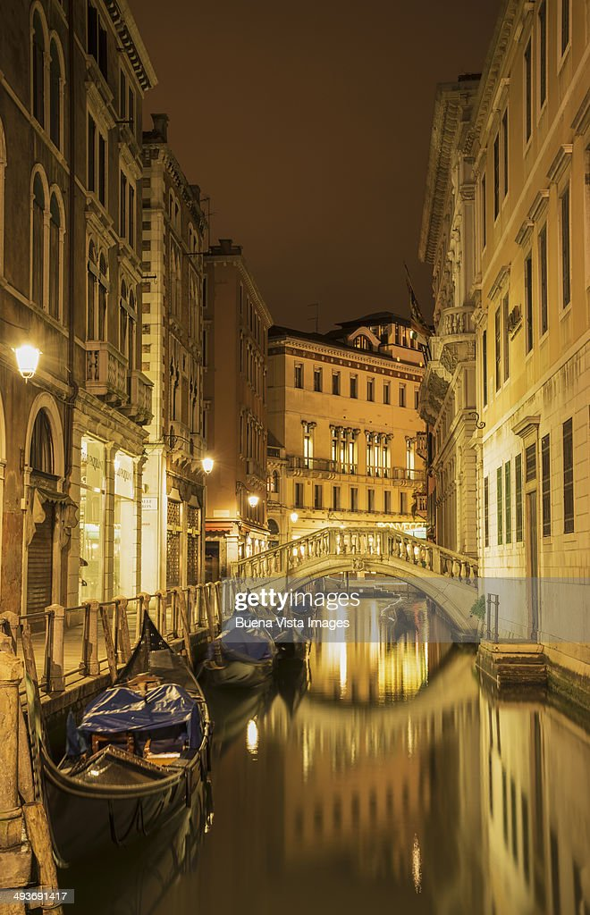 Moored gondolas in a Venice Canal. : Stock Photo