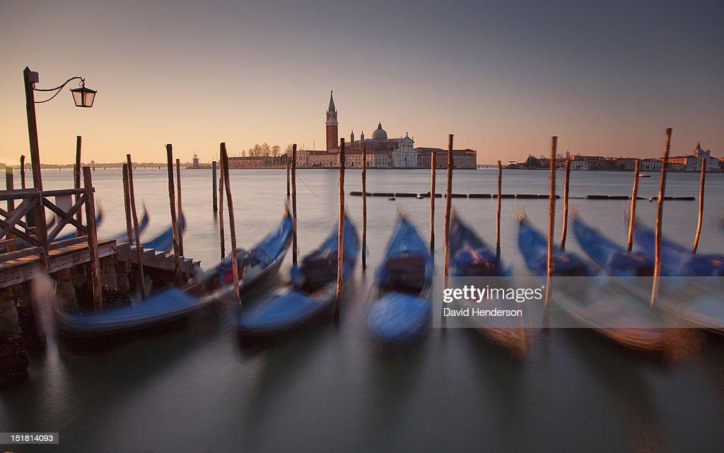 Moored gondolas in Venice, Italy : Stock Photo