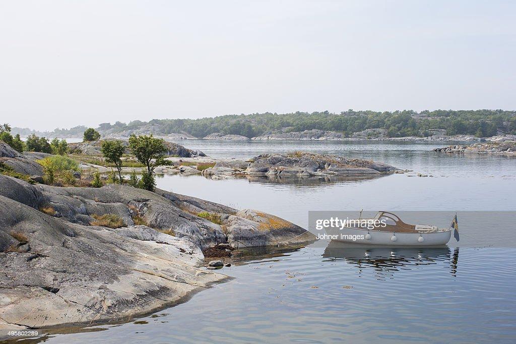 Moored motorboat, Stora Nassa, Sweden