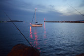 Moored sailboat at entrance of Vieux-Port harbor