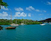 Moored sailboats in Nelson's Dockyard, Antigua, Caribbean