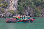 Moored tourist boats