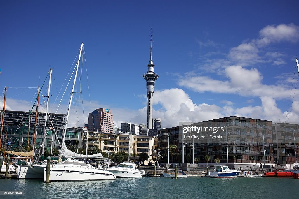 Moored yachts in Viaduct Basin showing Sky Tower Auckland New Zealand Located in the heart of Auckland City Viaduct Basin and Harbour is a first...