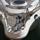 Close-up view on the bow of a real moored yatch.