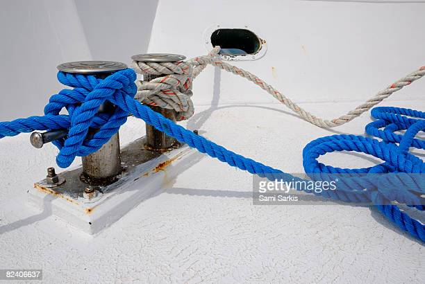 Mooring post and rope on boat deck, Red Sea, Egypt
