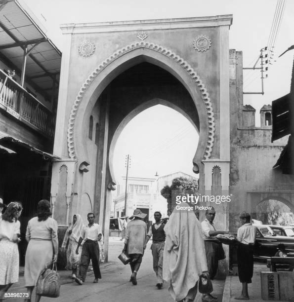A Moorish archway in Tangier in northern Morocco circa 1960