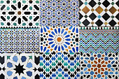 Collage of nine moorish mosaics. This type of mosaic can be found in mosques in the arabian world.