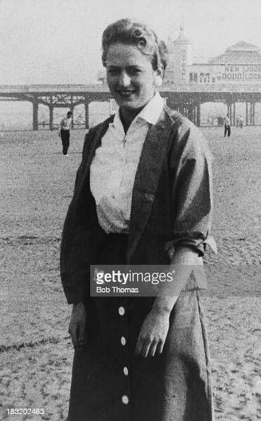 Moors murderer Myra Hindley on the beach at Blackpool Lancashire with the Central Pier in the background circa 1960