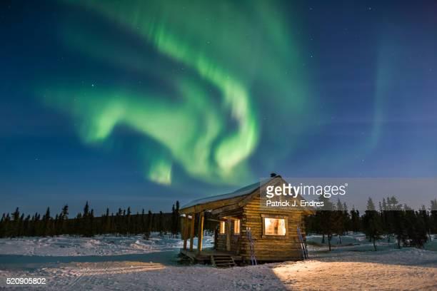 Moose Creek log cabin and aurora.