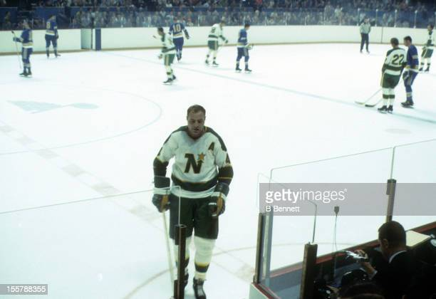 Moose Vasko of the Minnesota North Stars skates to the penalty box during an NHL game against the St Louis Blues on November 17 1968 at the St Louis...