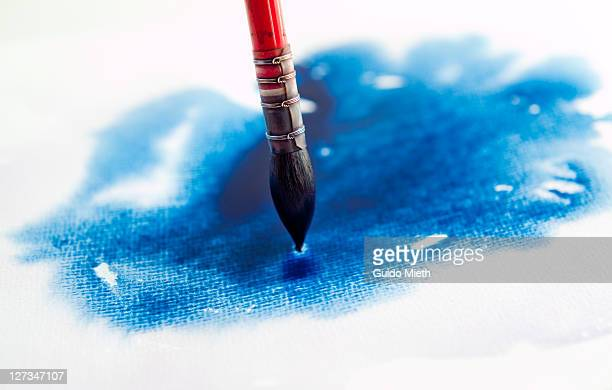 Mop brush and wet blue watercolour