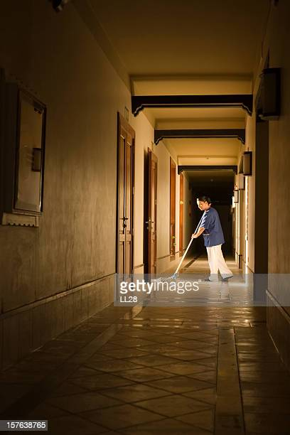 Mopping a hallway