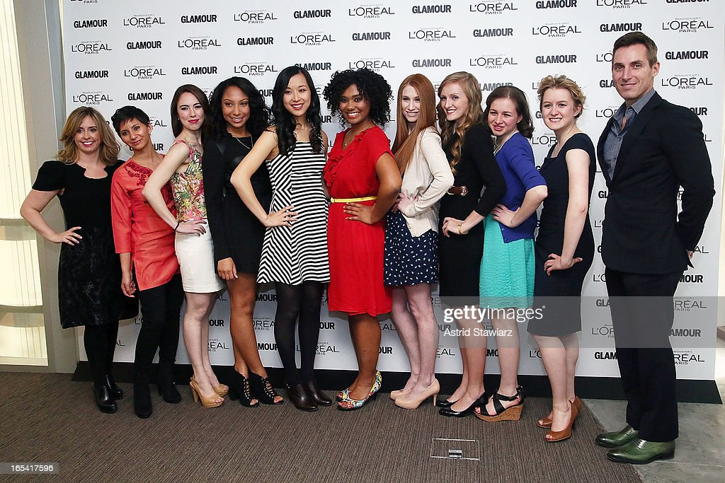 Mora Neilson, Noorjahan Akbar, Cara Eckholm, Micah Schure, Alice Lee, Otana Jakpor, Katherine Bomkamp, Margaret Gilroy, Simone Bernstein, Grace Young and Bill Wackermann attend the Glamour And L'Oreal Paris Celebration for the Top Ten College Women at The Diana Center At Barnard College on April 3, 2013 in New York City.