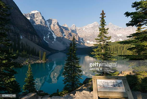 Moraine Lake and Valley of Ten Peaks with sign