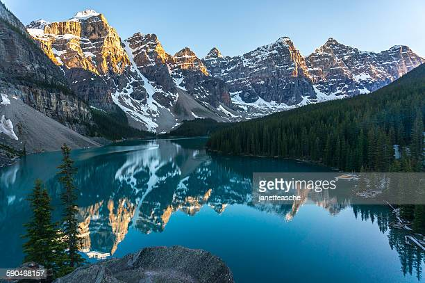 Moraine lake during sunset, Banff National Park, Canadian Rockies