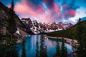 Dramatic Sunrise at Moraine Lake in Banff, Alberta, Canada