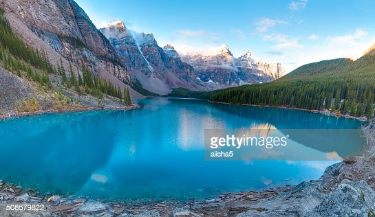 Moraine lake panorama : Stock Photo